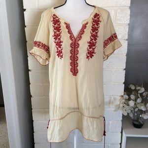 Floreat Climbing Vines Cream Red Embroidered Tunic